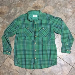 Green plaid button down boys size 14